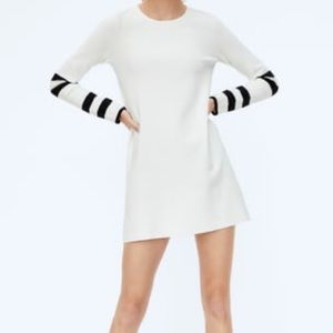 Zara White Knit Dress with Contrasting Sleeves